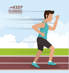Colorful poster keep running with man athlete vector