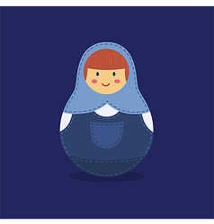 Cute russian doll blue vector