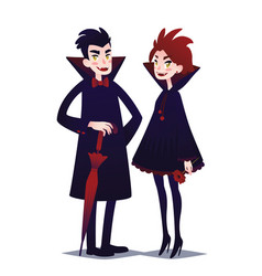 cute vampire couple boy and girl vector image vector image