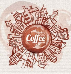 Decorative sketch of city coffee design vector