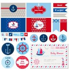 Design Elements - Baby Shower Nautical Theme vector image
