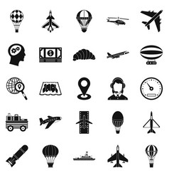 flying machine icons set simple style vector image