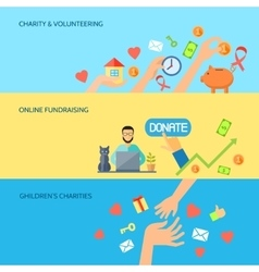 Giving hands horizontal flat banners set vector image