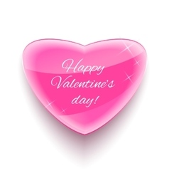 Glass heart for Happy Valentine Day Card vector image