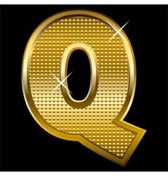 Golden font type letter Q vector image
