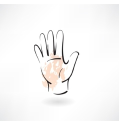 Hand palm grunge icon vector