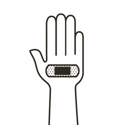 Hand with band aid vector