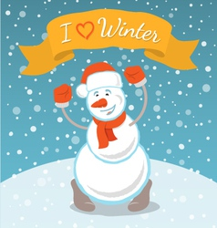Happy Snowman with a Ribbon vector image vector image
