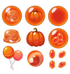 Isolated orange bubbles set vector