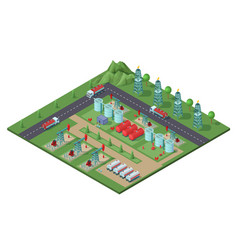 Isometric industrial oil field plant concept vector