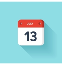 July 13 isometric calendar icon with shadow vector