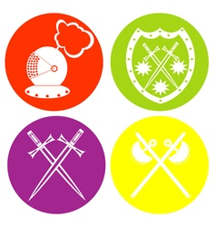 Monohrome icon set with knight heraldic symbol vector