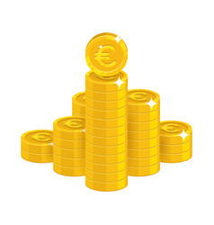mountain gold euro isolated cartoon icon vector image