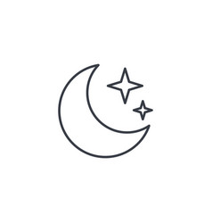 Night moon and star thin line icon linear vector