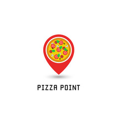 Pizza logo pointer pin location pizzeria fastfood vector