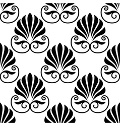 Pretty black fan shaped floral motif seamless vector image