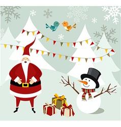 Santa claus and snowman christmas card vector