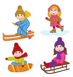Set of isolated children winter sports vector