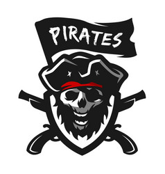 skull of captain of pirates logo emblem vector image vector image