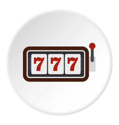 Slot machine with three sevens icon circle vector