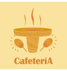 sombrero in the form of a cup of coffee vector image vector image