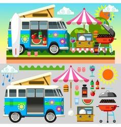 Summer picnic 3d flat set 02 vector