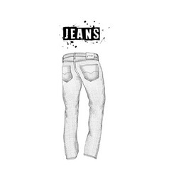 vintage mens jeans in back views isolated on vector image vector image