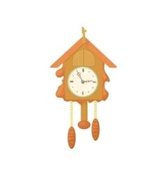 Vintage wooden cuckoo clock icon cartoon style vector