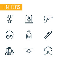 Warfare icons line style set with order cutter vector