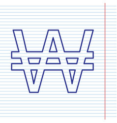 Won sign navy line icon on notebook paper vector