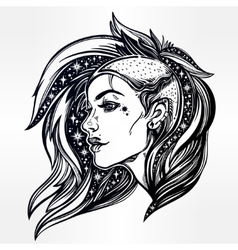 Face of a sexy young grunge punk girl with stars vector