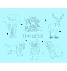 line animal set vector image