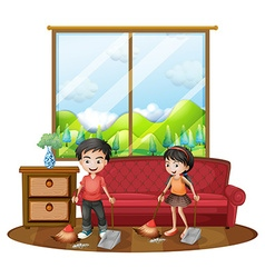 Two kids sweeping the floor vector image