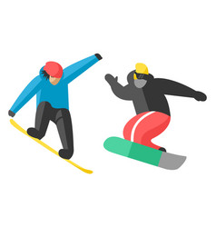 Snowboarder jump in different pose people vector