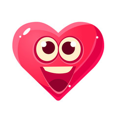 Happy and excited emoji pink heart emotional vector