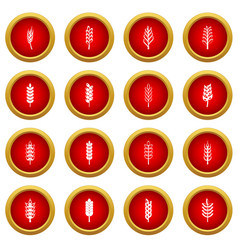 ear corn icon red circle set vector image