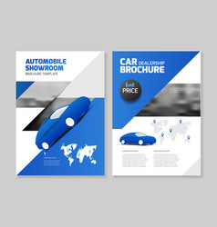 Car dealership automobile showroom leaflet vector