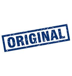 Square grunge blue original stamp vector