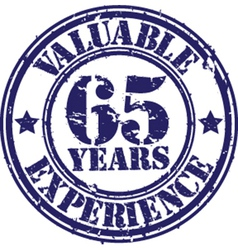 Valuable 65 years of experience rubber stamp vect vector