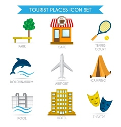 Building tourism icons flat vector