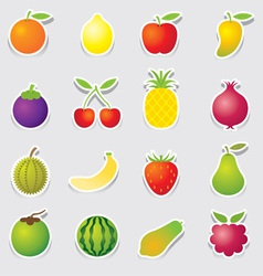 Mixed fruits icons sticker style vector