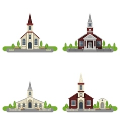 Church Decorative Flat Icon Set vector image