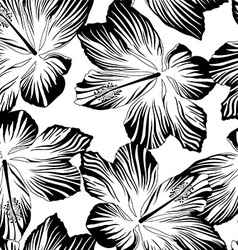 Tropical flowers seamless pattern in black and vector
