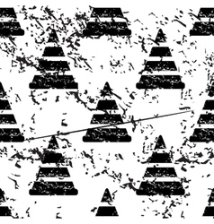 Traffic cone pattern grunge monochrome vector