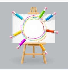 Wooden Easel and Pencil Absrtact Background vector image