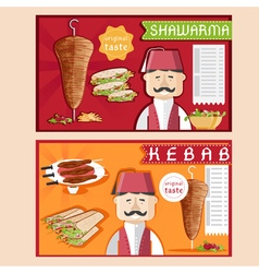 Doner kebab with chefshawarma and salad vector