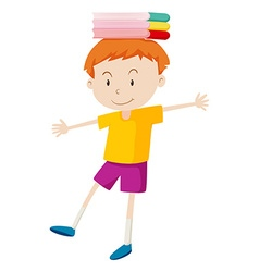 Boy with books on his head vector