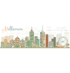 Abstract melbourne skyline with color buildings vector