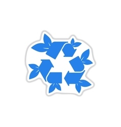 Paper sticker on white background arrow leaves vector