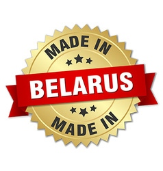 Made in belarus gold badge with red ribbon vector